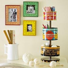 Don't know if I could bring myself to do this to my old tins, but it sure is cute!
