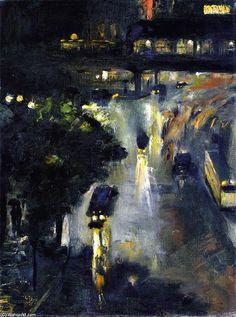 """""""Nollendorfplazt la nuit"""", huile sur toile de Lesser Ury (1861-1931, Poland)"""