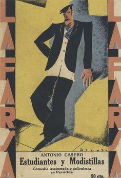 """Félix Alonso (cubierta). Antonio Casero. """"Estudiantes y modistillas"""". Madrid: La Farsa, año III, núm. 119, 21 de diciembre de 1929""""."""