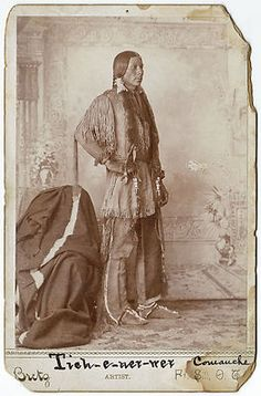 Comanche Native American Warrior by Bretz of Fort Sill - Oklahoma Territory (c.1880s).