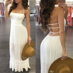 Shirring Bandage Open Back Pleated Halter Maxi Dress Halter Maxi Dresses, Sexy Dresses, Cute Dresses, Dress Skirt, Casual Dresses, Fashion Dresses, Dress Up, Prom Dresses, Summer Dresses