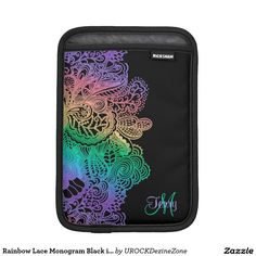 Rainbow Lace Monogram Black iPad Sleeve