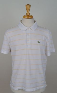 Lacoste Sport mens 7 XL short sleeve 100% cotton white yellow striped polo shirt #Lacoste #PoloRugby