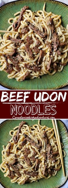 This Beef Udon Noodles recipe is super easy to make and can be on the table in less than 25 minutes! This Beef Udon Noodles recipe is super easy to make and can be on the table in less than 25 minutes! Fun Easy Recipes, Quick Dinner Recipes, Easy Meals, Amazing Recipes, Budget Recipes, Sweets Recipes, Beef Udon Noodle Recipe, Noodle Recipes, Easy Diner