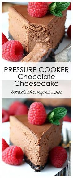 Pressure Cooker Recipes 181199584994548718 - Pressure Cooker Chocolate Cheesecake Recipe: Rich, decadent chocolate cheesecake with a chocolate crumb crust, cooked to perfection in your Instant Pot. Source by thefoodellers Pressure Cooker Desserts, Pressure Cooker Cheesecake, Pressure Cooker Cake, Instapot Cheesecake, Chocolate Cheesecake Recipes, Toffee Cheesecake, Instant Pot Pressure Cooker, Instant Cooker, Food Cakes