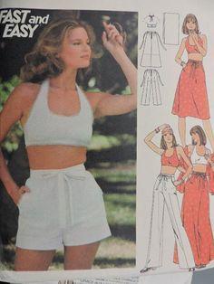 Halter Top Skirt Pants Shorts & Stole Butterick 4854 Vintage Cool Patterns, Vintage Patterns, Skirt Pants, Shorts, Swimsuit Pattern, Fashion Patterns, Costume Patterns, Vintage Fashion, Swimsuits