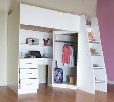 High Sleeper Cabin bed with Colour options ideal childrens safe bed with wardrobe and desk Cornwall Room Design Bedroom, Girl Bedroom Designs, Room Ideas Bedroom, Small Room Bedroom, Bedroom Decor, Childrens Cabin Beds, Cabin Beds For Kids, Girls Cabin Bed, Cabin Bed With Wardrobe