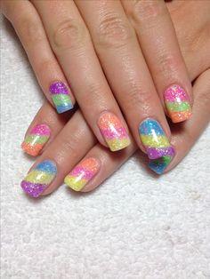 Cally's beach ball nails Gel nail designs Mountain Prairie Nails