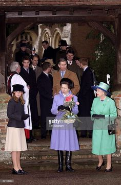 The Queen With Princess Anne And Princess Beatrice Outside Church At Sandringham On Christmas Day. Behind Them Are Prince Charles, Prince Harry, Prince William, Timothy Laurence, Peter Phillips And Prince Edward.