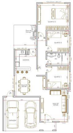 Projeto de casa térrea de 3 quartos com 115.00m²