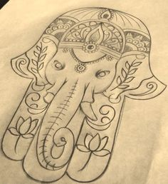 Hamsa plus elephant Future Tattoos, Love Tattoos, Body Art Tattoos, Tattoo Drawings, Art Drawings, Script Tattoos, Arabic Tattoos, Tatoos, Tattoo Painting