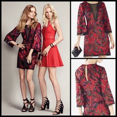 """BCBG MAX AZRIA  Yasmyn Embroidered Dress NWT Turn heads in this airy party dress inset with a saucy illusionist décolleté and marbled in color-rich embroidery. 34 3/4"""" length (size 8). Belled three-quarter sleeves. Semi-sheer. Partially lined. 100% nylon with 100% viscose. Dry clean or hand wash cold, line dry. By BCBGMAXAZRIA; imported. BCBGMaxAzria Dresses"""