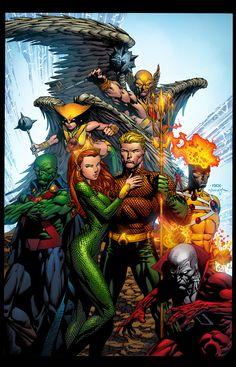 Justice League of America- Aquaman, Mera, Martian Manhunter, Hawkgirl, Hawkman…