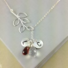 Two Initial Two Birthstone Necklace Family by anatoliantaledesign, $53.00
