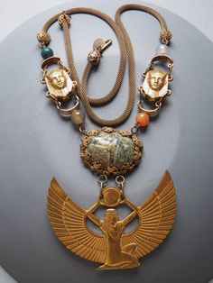Vintage Signed Miriam Haskell 9k Gilt and Semi-Precious Stone, Egyptian Revival, ISIS Necklace by VtVintageJewelry, $589.00