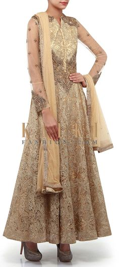 Buy Online from the link below. We ship worldwide (Free Shipping over US$100). Product SKU - 300196. Product Link - http://www.kalkifashion.com/gold-anarkali-suit-adorn-in-zari-and-zardosi-embroidery-only-on-kalki.html