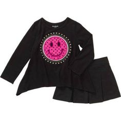 Garanimals Baby Toddler Girl Sharkbite Applique Tee & Woven Skort Outfit Set, Size: 5 Years, Black