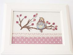 Bird On A Branch Finished Cross Stitch / Framed Cross by CICIDEKO