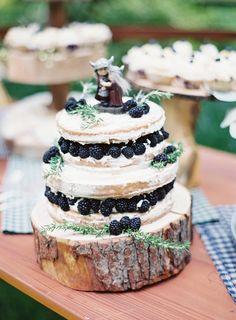 wedding cake with berries - photo by Sposto Photography http://ruffledblog.com/redwoods-forest-wedding-at-fern-river