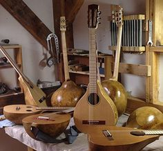 photo of gourd guitars. I discovered using gourds for my instruments last year,   and was amazed at how good they sound! Digit Woutat in Eugene, Oregon