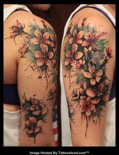 Abstract Flowers Color Ink Tattoos On Half Sleeve