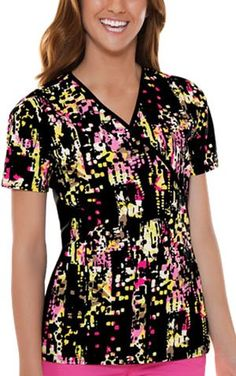 Cherokee 2988C Womens Flexibles Cotton Mock Wrap Print Scrub Top Artrageous XXLarge ** You can find out more details at the link of the image.Note:It is affiliate link to Amazon.