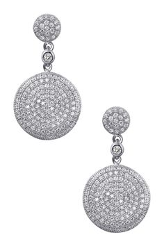 Platinum plated sterling silver Micro Pave & Bezel Set Simulated Diamond Round Dangle Earrings