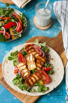 Halloumi, Wrap, Pasta Salad, Good Food, Food And Drink, Healthy Eating, Lunch, Healthy Recipes, Vegan