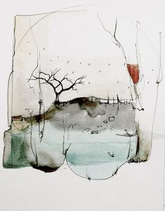 migratory cycle ~ watercolor and ink ~ by nava waxman Abstract Watercolor Art, Watercolor And Ink, Watercolor Paintings, Watercolor Landscape, Abstract Paintings, Watercolours, Ink Art, Painting Inspiration, Painting & Drawing
