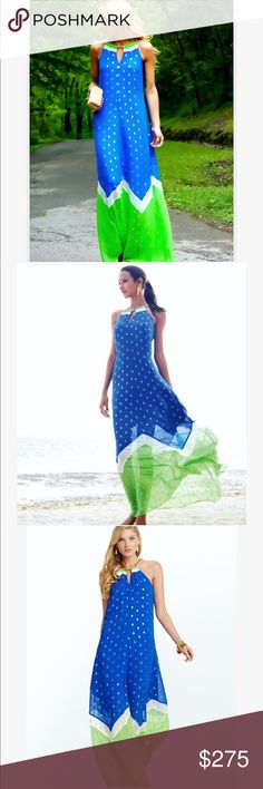 GORGEOUS Lilly Pulitzer maxi dress   Absolutely GORGEOUS Lilly Pulitzer maxi dress in size L, beautiful blue and green colors with gold dots  so gorgeous definitely catches eyes it's a must have, please feel free to ask any questions  Lilly Pulitzer Dresses Maxi