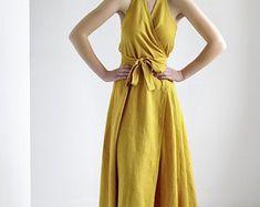 Mindfully tailored at the coast of linen by LinenHandmadeStudio Linen Apron Dress, Linen Dresses, Maxi Wrap Dress, Coat Dress, Dress Long, Kimono, Dress With Shawl, Models, Spaghetti Strap Dresses