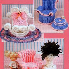 INSTANT DOWNLOAD PDF Vintage Crochet Pattern Booklet Fashion Doll Home Decor  Crochet a Mothers Corner Nursery for a fashion dolls house. Mothers Chair, Childs Chair, Footstool, Cradle, Rug and Plant Stand   Various yarn weights and crochet hook sizes.   This vintage US crochet pattern booklet has been converted to a PDF that can be downloaded as soon as payment has cleared Pattern booklet will print onto 11 sheets of paper
