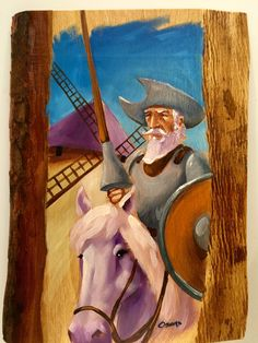 Don Quijote al óleo sobre madera, Don Quijote oil painting over wood