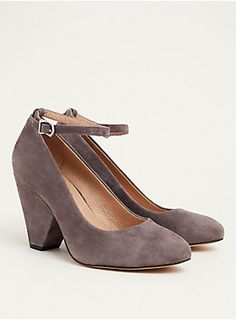 """<div><div>Everything's better in cones! It's a fact. Slick grey genuine suede lends a fancy aesthetic to these pointed toe heels. And about the heels...they're cone heels (the picture kind of explains itself) so they're thicker, wider and better.</div></div><div><ul><li style=""""list-style-position: inside !important; list-style-type: disc !important"""">TRUE WIDE WIDTH: Designed so you never have to size up again.&..."""