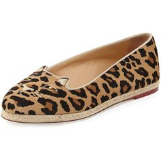 Charlotte Olympia Capri Cats Leopard-Printed Pony Flat (16 340 UAH) ❤ liked on Polyvore featuring shoes, flats, leopard, metallic flats, leopard shoes, cat shoes, espadrille flats and cat flat shoes