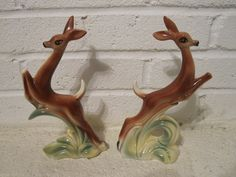 "Couple of vintage Stewart B. McCulloch of California art pottery ceramic leaping fawns one with original foil label. - $25 These two pieces of mid century Stewart B. McCulloch of California art pottery Leaping Deer of Fawns are in wonderful condition. One retains it's original foil label. Both pieces are clearly marked ""Stewart B. McCulloch"" - ""Calif"". The measurements of the fawns are height 8.5 inches."