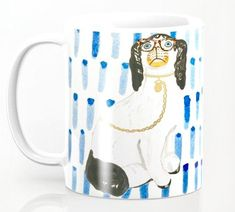Available in 11 ounce size, Annechovie premium ceramic coffee mugs feature wrap-around art and large handles for easy gripping.  Dishwasher and microwave safe, these cool coffee mugs will be your new favorite way to consume hot or cold beverages.This mug features a painting from artist Anne Harwell McElhaney and features a witty version of a traditional English Staffordshire dog wearing tortoise glasses on a blue and white water colored pattern. Staffordshire Dog, Palm Beach Fl, Custom Labels, Tortoise, Color Patterns, Coffee Mugs, Blue And White, Etsy Shop, Ceramics