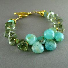 Peruvian Opal and Prasiolite Nugget Gemstone by SurfAndSand