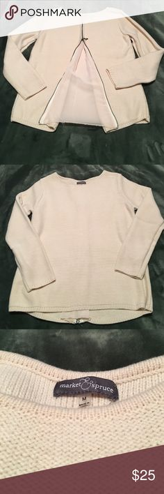 "Market & Spruce Zip-panel back sweater. NWOT High quality cream colored sweater with full zip back and chiffon-like material ""peek-a-boo"" panel. Never worn. Market & Spruce Sweaters Crew & Scoop Necks"