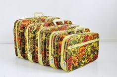 Groovy Vintage Suitcase Set - Flower Power Nesting Luggage