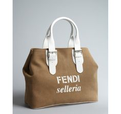 Fendi light brown and white canvas and leather accent oversized tote $1165