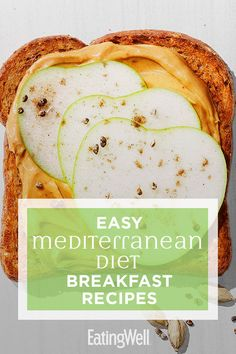 Easy Mediterranean Diet Breakfasts Recipes to Make for Busy Mornings - Start your day off right with these fast and easy Mediterranean diet breakfast recipes. Perfect for - Mediterranean Diet Breakfast, Easy Mediterranean Diet Recipes, Mediterranean Dishes, Medditeranean Diet, Med Diet, Low Fat Diets, Diet Meal Plans, Meal Prep, Overnight Oats