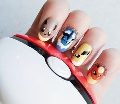 Pokemon Nails (Original Eevee-lutions) @Luuux omg that's my dog is named after eevee