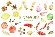 Watercolor Clipart Spice and Garnish by Corner Croft on @creativemarket