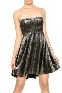 "Black and metallic gold shattered shine babydoll dress, features a sweetheart neckline, empire waist and flared skirt. Dress comes with matching detachable straps.    Measures: 33"" L   Party Dress by Free People. Clothing - Dresses - Strapless Clothing - Dresses - Cocktail Kansas"