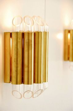 Pair of Brass and Lucite Sconces