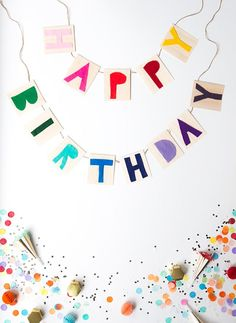DIY Happy Birthday Garland Diy Birthday Banner, Diy Banner, Happy Birthday Banners, Birthday Party Themes, Birthday Wishes, Happy Early Birthday, Birthday Images, Birthday Quotes, Birthday Greetings