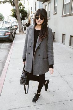 H&M Coat, Illesteva Sunglasses, Hudson Nico Jeans