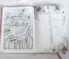 Bullet journal monthly cover page, February cover page, flower drawing, floral drawing, calligraphy title, bullet journal monthly calendar, linear calendar, vertical calendar. | @rachelmay46