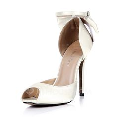 Wedding Shoes - $67.99 - Women's Silk Like Satin Stiletto Heel Peep Toe Pumps With Bowknot Buckle (047042634) http://jjshouse.com/Women-S-Silk-Like-Satin-Stiletto-Heel-Peep-Toe-Pumps-With-Bowknot-Buckle-047042634-g42634